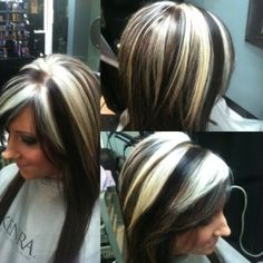black hair with blonde underneath pictures of black hair with white silver highlights yahoo