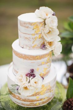 cake with gold foil