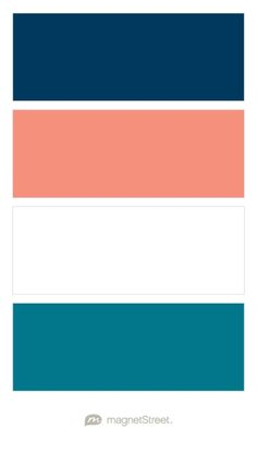 Navy, Coral, White, and Peacock Wedding Color Palette - custom color palette created at MagnetStreet.com