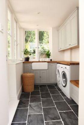 ... - Inspiration for decoration - dream laundry room - love the rectangular tiles