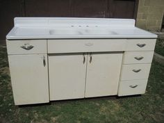 Antique Vintage Youngstown Kitchen Cabinet Sink Base W Double Basin 1950 S