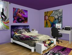 Hip Hop Bedroom And Bedding Gray Amp Purple Dance Wall Art