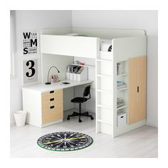 Desk Bed Combo With Blue Bunk Bed Loft Beds