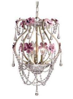 Shabby Chic Mini Chandelier Pendant Light With Teardrop Shape Crystal Beads And Flowered Fl Accents For