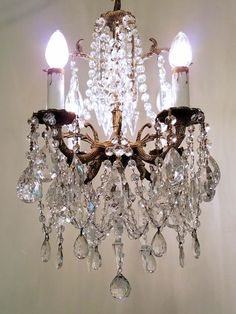 Antique Brass And Crystal Pee Chandelier Small Vintage French