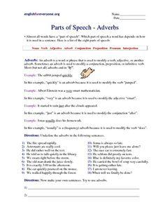 Identifying Adverbs Worksheet   Lesson Planet   English ...