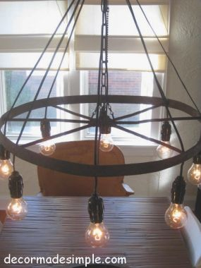 Rustic Chandelier Using Exposed Lightbulbs Rather Than Candles Diy Wagon Wheel