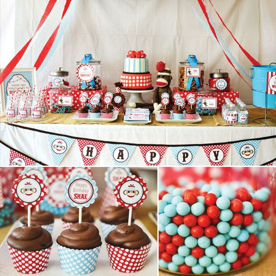 Adorable Rustic + Modern Sock Monkey Birthday Party // Hostess with the Mostess&