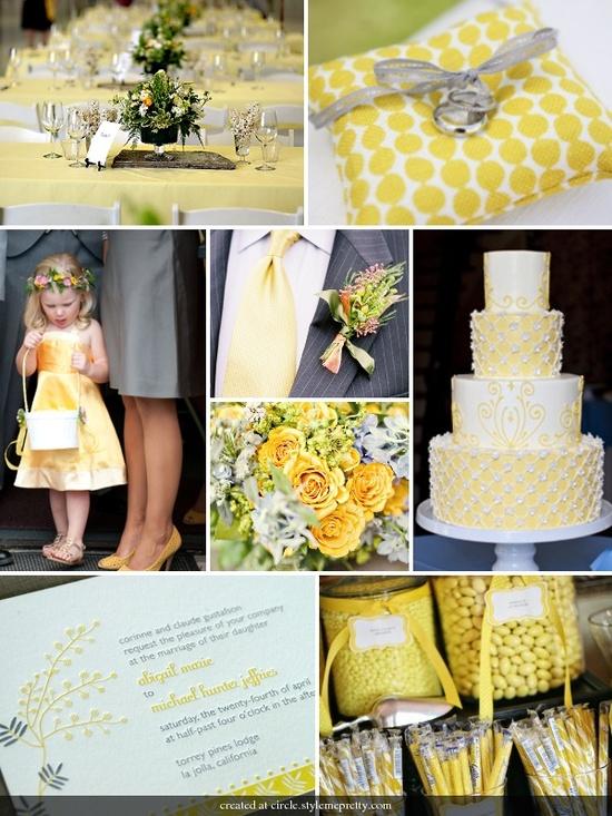 grey/yellow wedding – I especially like the cake