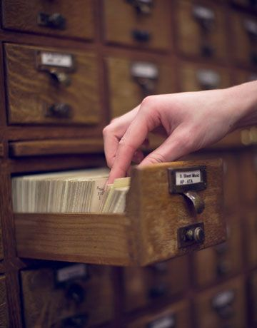 Llibrary card catalog; our only IT Department