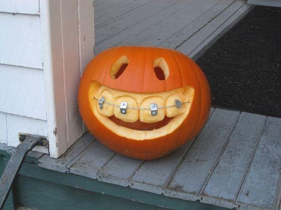 Pumpkin with braces.