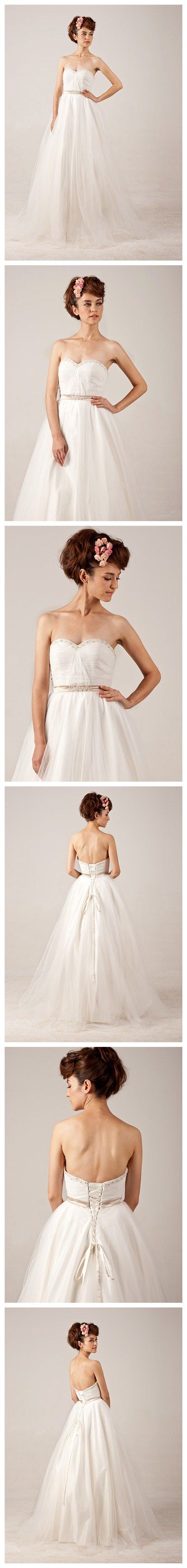 Lace-up Ball Grown Beading Strapless Tulle Wedding Dress