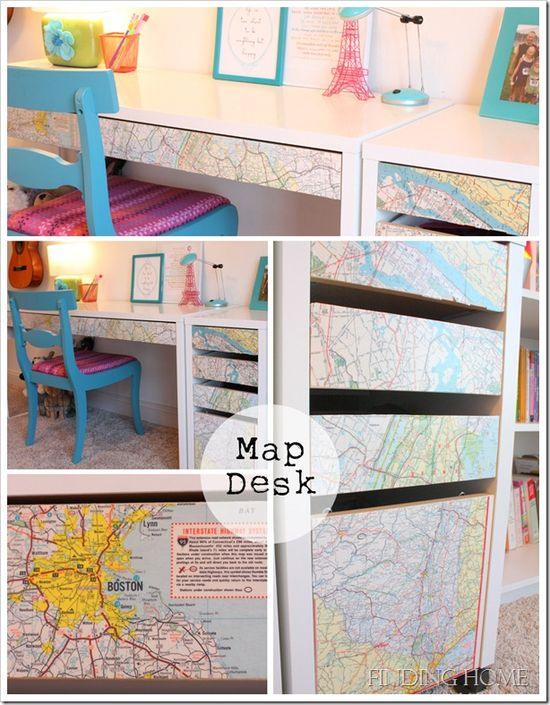 Ikea desk decoupaged with vintage maps