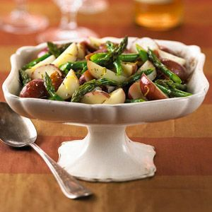 This healthy side dish showcases fresh asparagus and new potatoes with a touch o