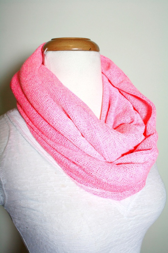 Hot Pink Sweater Knit Infinity Scarf