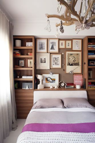 Bulletin board as head board – I love this idea, especially because I've str