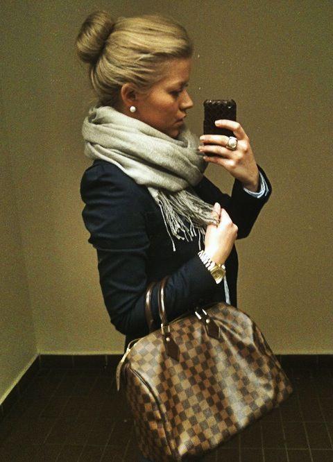 large scarf…bun…studs