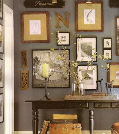Eclectic wall from Pottery Barn.