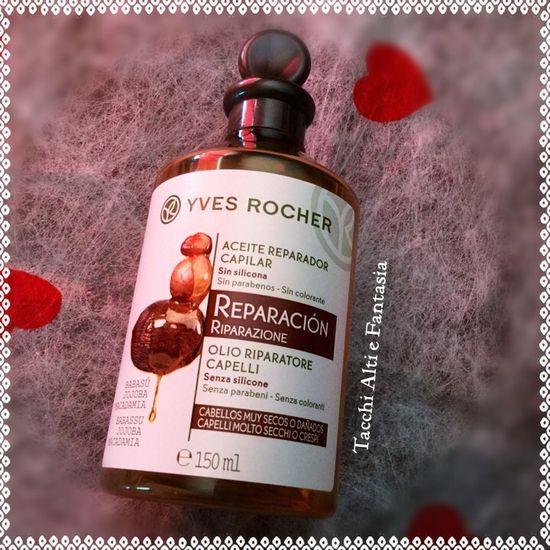 OLIO-RIPARATORE-CAPELLI Yves Rocher trattamento pre-shampoo per capelli secchi e crespi