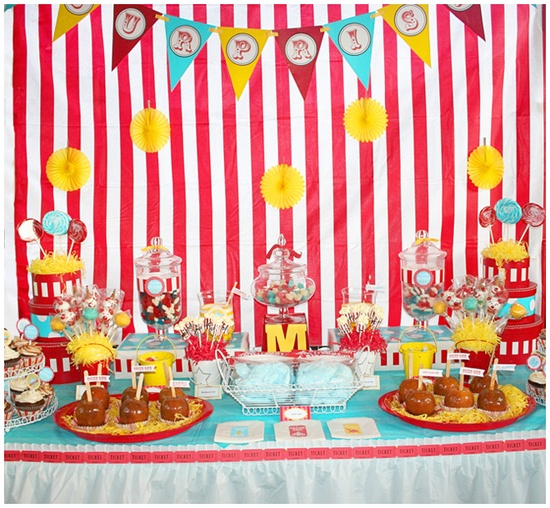 Table set up ideas for a carnival party.. great idea this will be my kids birthd