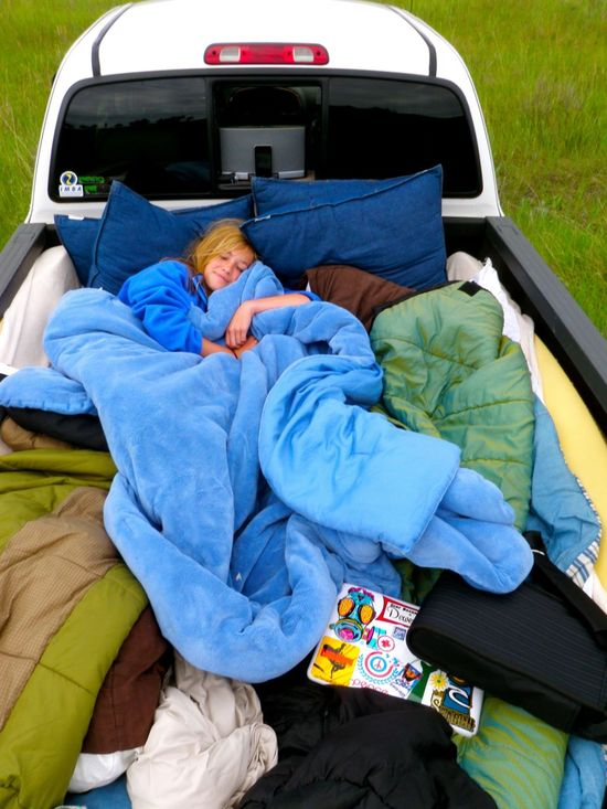 fill a truck bed full of pillows and blankets and drive in the middle of nowhere