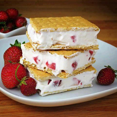 Healthy Ice Cream Sandwich 1. Blend cool whip and strawberries 2. Apply a thick