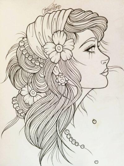 Gypsy Girl Tattoo Sketch