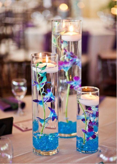 blue and purple wedding centerpieces | Centerpiece Options – Light Blue/Purple W