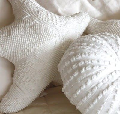Seashell pillows from old chenille bedspreads