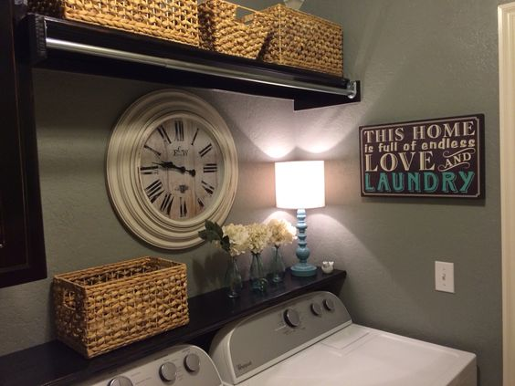 Small Laundry Closet Makeover - Storage Baskets, Decor and Lighting
