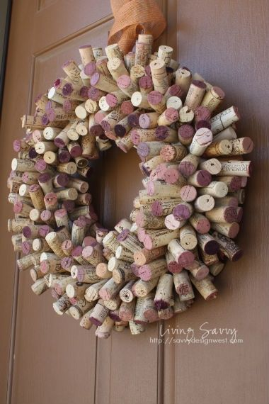 Living Savvy: How To... Cork Wreath wine-and-cheese-party:
