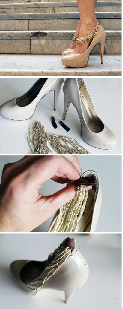Makeover your plain heels with inexpensive jewelry straps for a chic shoe refashion