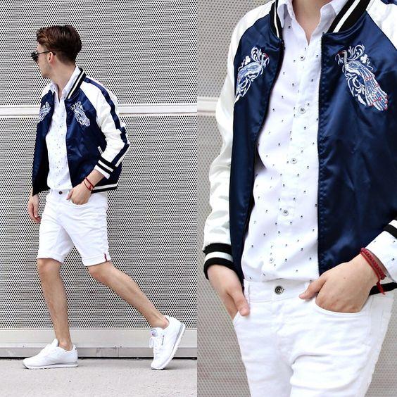 スーベニアジャケット海外メンズコーデ