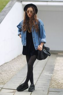 Vintage Denim jacket with Navy velvet dress, Round sunglasses, Hat, Black leggings & Black creepers shoes: