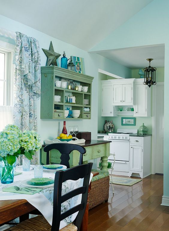 tiny functional kitchen small lake cottage with turquoise on lake cottage colors id=84301