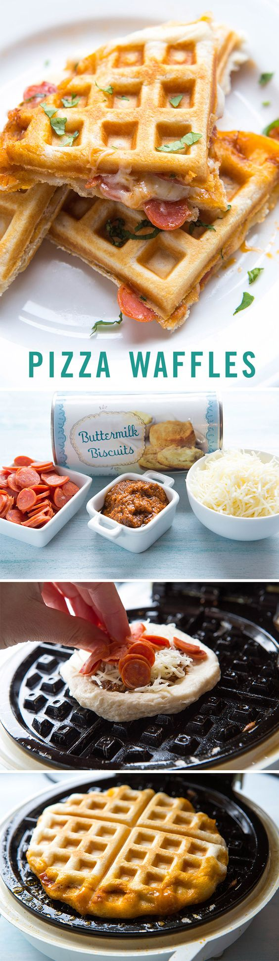 Stuffed Pizza Waffles for Two Recipe via Babble - We love pizza and we love waffles, can you imagine the magical meal we'd have if we combined the two? Follow this tasty homemade recipe for stuffed pizza waffles and indulge for tonight's dinner.