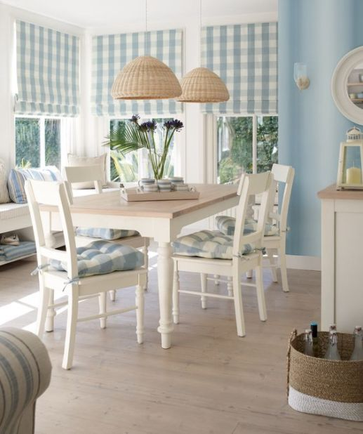 NEW Laura Ashley Coastal range. Love the window treatments and chair pads....just in a different color....: