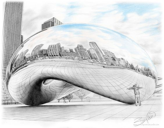 Pencil Drawing Of The Bean Cloudgate Sculpture In