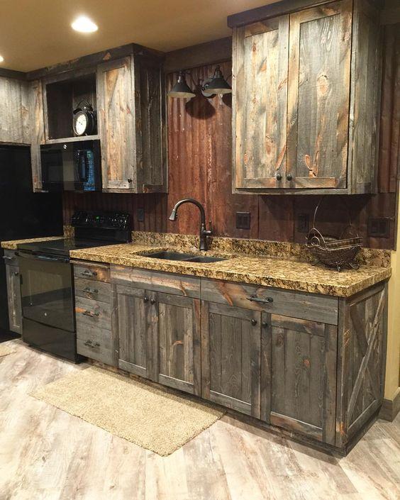 Little Barnwood Kitchen Cabinets Corrugated Steel Backsplash