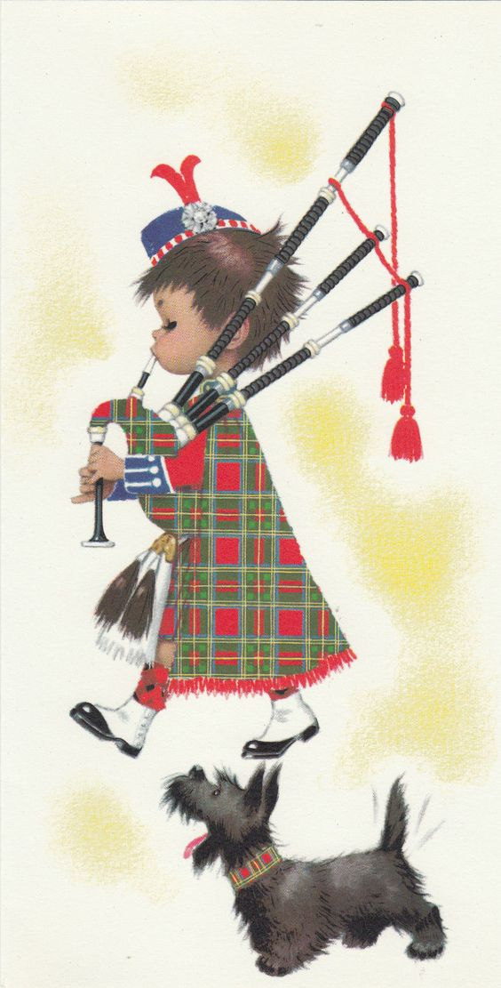 Vintage Scottish Terrier Happy Birthday Bagpipes Greeting
