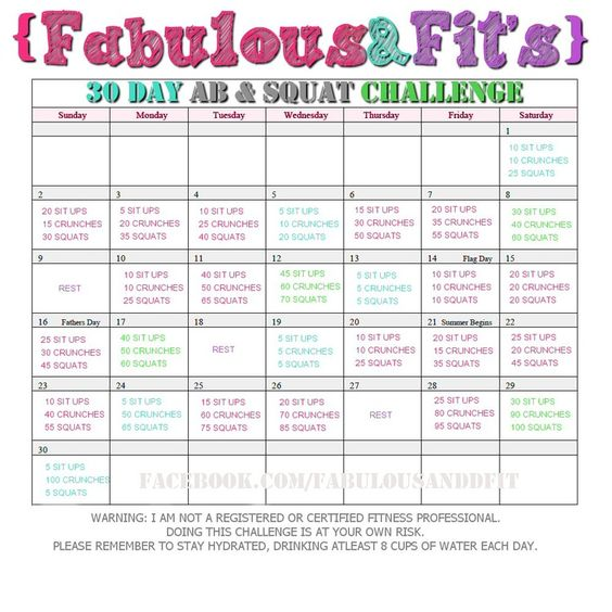 30 day abs Squat challenge and Squats on Pinterest
