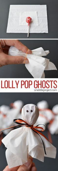 These lolly pop ghosts are SO CUTE! They're super easy and make a fun treat for a Halloween party or to send to school on Halloween!: