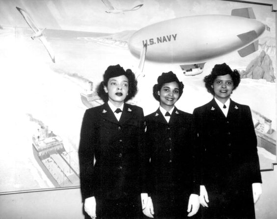 US Navy WAVE Hospital Apprentices 2nd class R. Isaacs, K. Horton, and I. Patterson were the first African-Americans at the Hospital Corps School, Bethesda, Maryland, US, 2 Mar 1945.:
