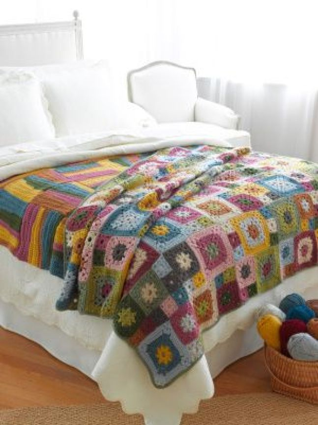 Evoke the beauty of springtime flowers with this Garden Patch Granny Afghan, crocheted in Vanna's Choice.: