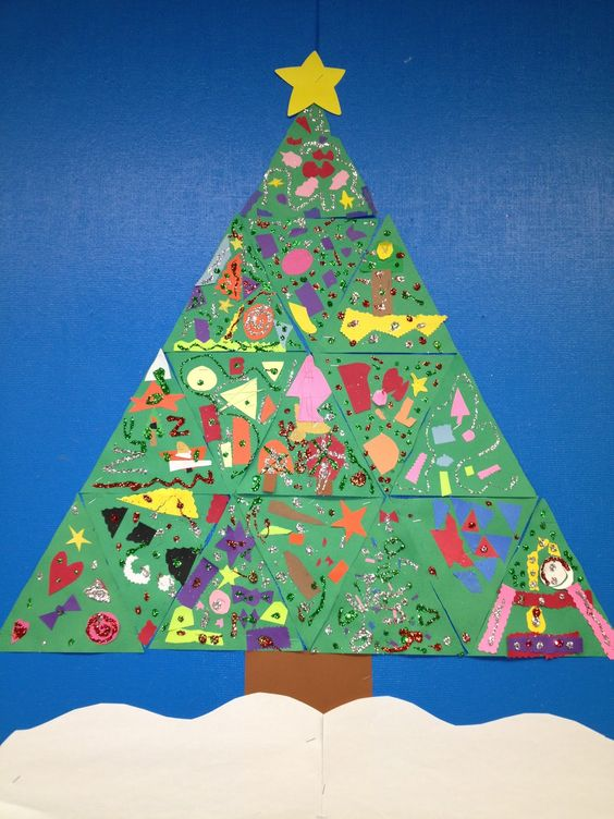Each Student Gets A Triangle To Decorate With Scraps And