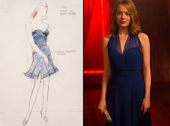 The sketch for Emma Stone's (Mia) navy dress from La La Land's costume designer Mary Zophres. The navy halter dress they ended up using is from Jason Wu.: