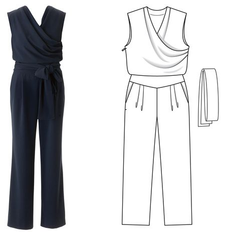 Sleeveless crossover pantsuit. Plus size 04/2016 / Burdastyle: