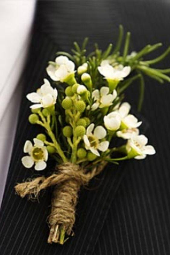 White Wax Flower Boutonnire Wedding