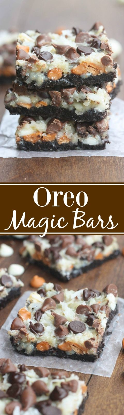 Oreo Magic Bars Dessert Recipe via Tastes Better From Scratch - Seven simple layers of Oreo chocolate bliss starting with an Oreo crust, three different types of chocolate chips, coconut and nuts. This is the EASIEST dessert, and always a party favorite.