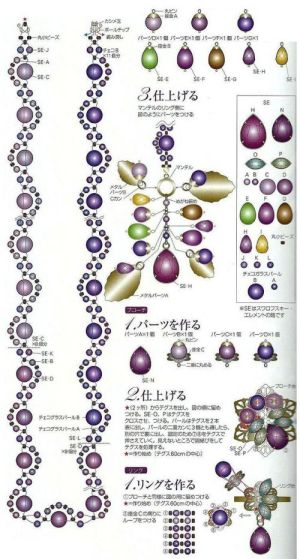 Purple pearls and beads diagram | Free bead patterns
